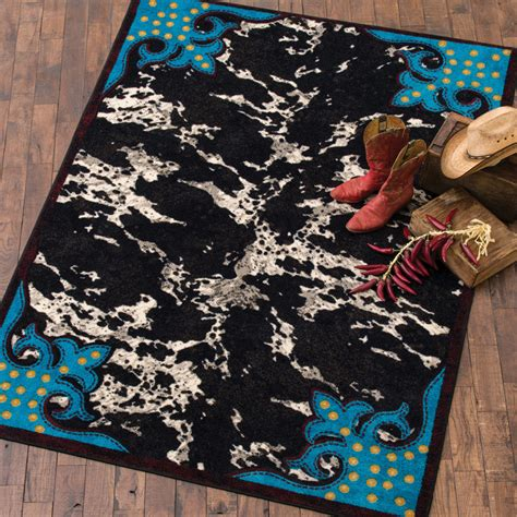 Turquoise Cowhide Rug by Southwest Rugs Turquoise Cowhide Rug Collection Lone