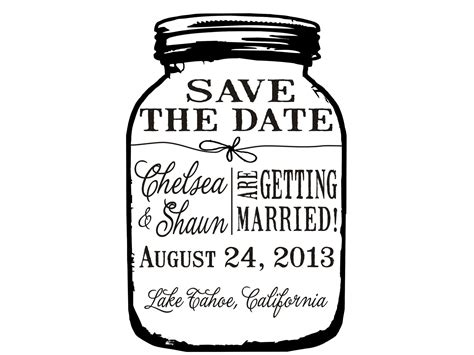 Mason Jar Save The Date Custom Rubber St By Stoutonline Save The Date Rubber St Template