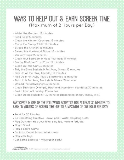 printable chore list to earn screen time happiness is