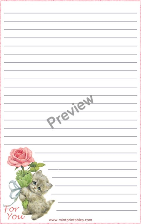 printable cat stationery romantic printable stationery kitten for you