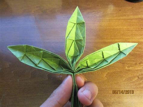 Origami Pot Leaf - daily origami 61 marijuana leaf xd by naganeboshni on