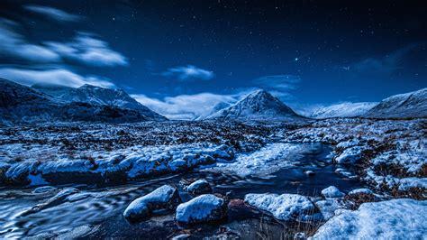 night sky stars mountains stream snow winter wallpaper