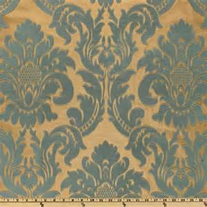 Upholstery Fabric Remnants Online Affordable Powder Blue And Gold Damask Fabric Rich And