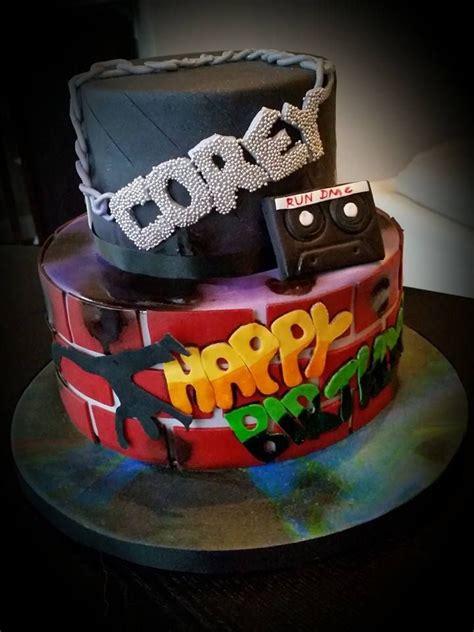 rap theme graffiti break dancing birthday cake
