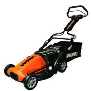 home depot lawnmowers worx 19 in walk cordless electric lawn mower wg788
