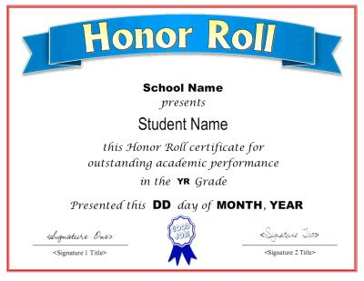 of honor card template printable honor roll award certificate in pdf and doc
