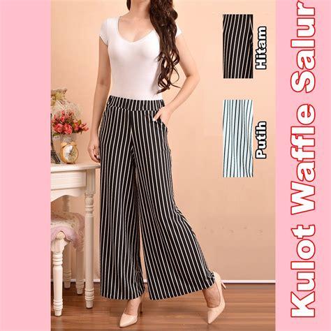 Celana Palazzo Stripe jual celana panjang kulot salur hitam putih stripe wanita