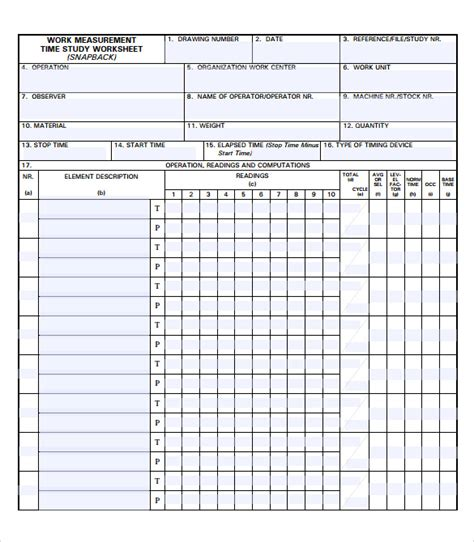 sle time study template 5 documents in pdf