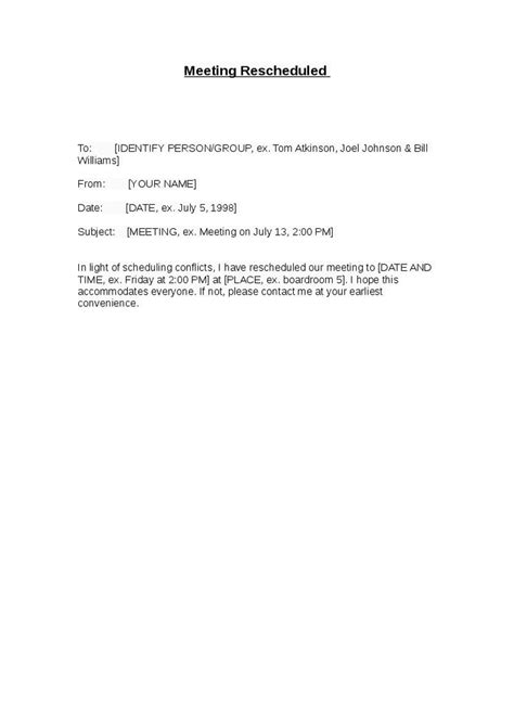 Letter Cancelling Meeting Sample Meeting Rescheduled Letter Hashdoc