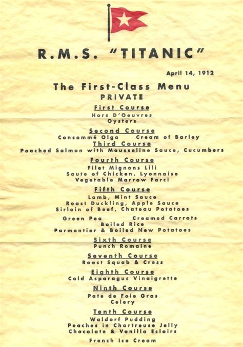 titanic second class menu newport local news last meals the foie gras fade out and
