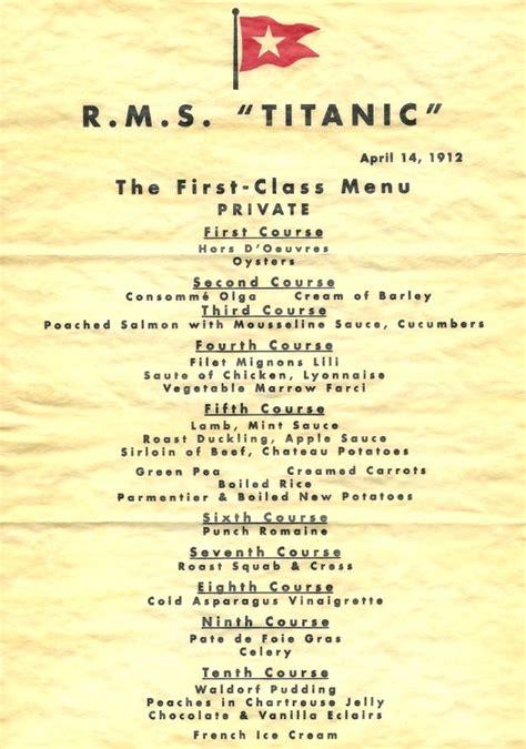 titanic menus titanic delicious history