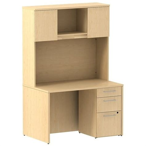 48 Desk With Hutch Bush Business 300 Series 48 Quot Shell Desk With Hutch In Maple 300s079ac
