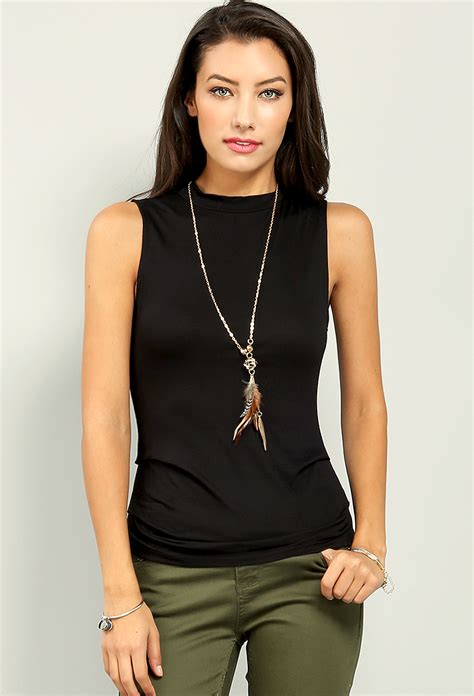 Sale Casual Top Model Neck Size L Best Seller Murah 17527 high neck sleeveless top w necklace shop tops at papaya clothing