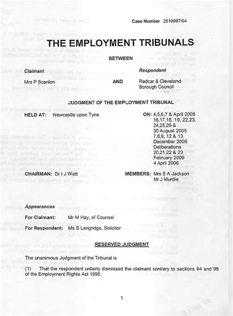 statement of employees rights section 30 coatham protest scanlon employment tribunal