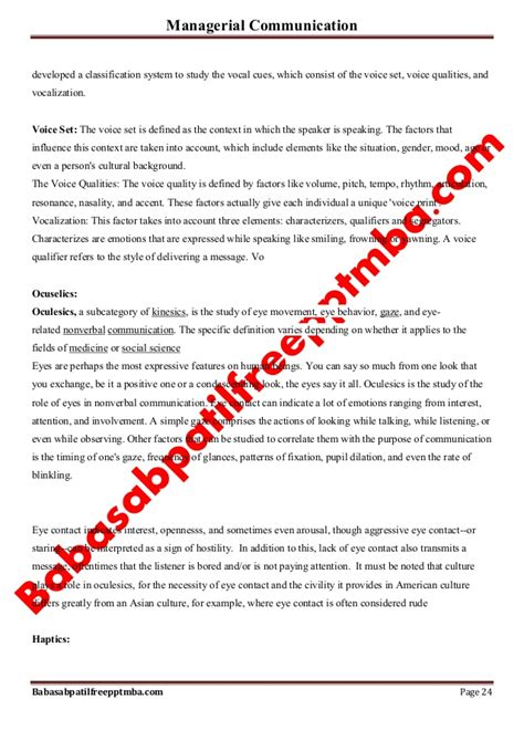 Managerial Communication Pdf For Mba by Notes Managerial Communication Mod 2 Basic Communication