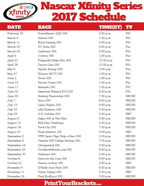 printable xfinity schedule 17 best images about nascar on pinterest daytona 500