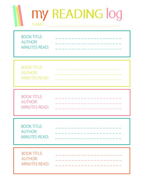 my reading printable reading log for elementary