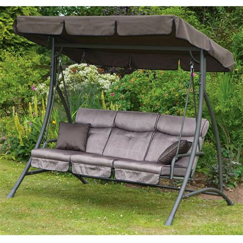 outside swings with canopy exterior wicker 2 person upholstered patio swing with