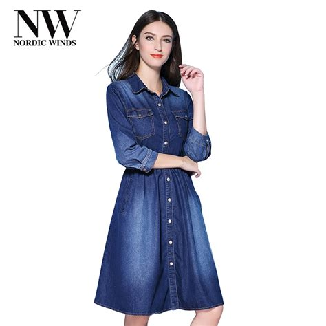 A Line Denim Dress nordic winds denim dress casual fall a line denim