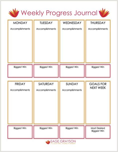printable goal journal free printable weekly progress journal sage grayson