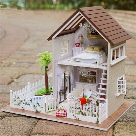 doll house music cuteroom 1 24diy miniature voice activated led light music with cover paris apartment