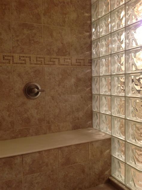 Glass Block Designs For Bathrooms by Glass Block Shower Wall Dublin Ohio Mediterranean