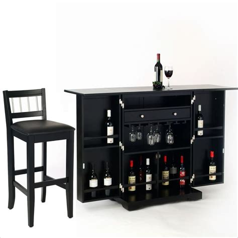 Folding Home Bar Cabinet Styles Furniture Steamer Black Folding Set Home Bar Ebay