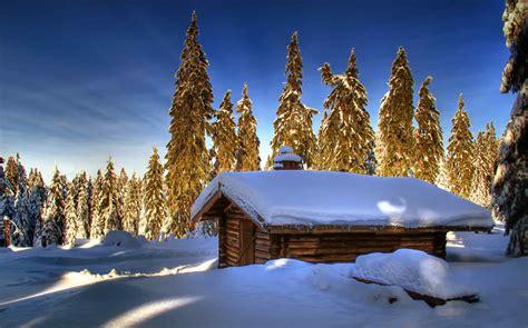 winter log cabin desktop wallpaper log cabin in winter forest full hd wallpaper and