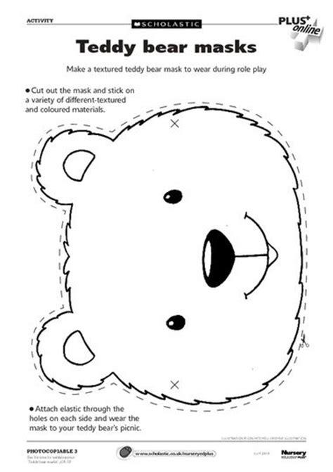 early play templates teddy bear mask templates  print  teddy bear day bear mask teddy