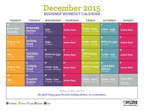 Fitness Calendar December 2015 Beginner Workout Calendar