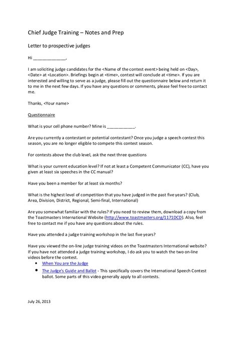 letter to judge template letter to prospective judges template