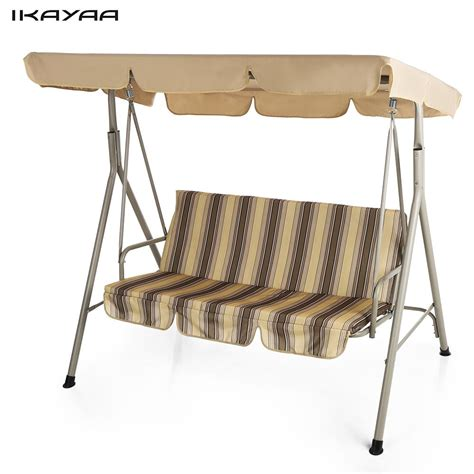 3 seat glider with canopy ikayaa 3 seater patio canopy swing glider hammock outdoor