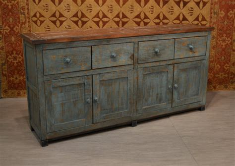 asian style sideboard blue patina rustic distressed style solid wood blue finish sideboard