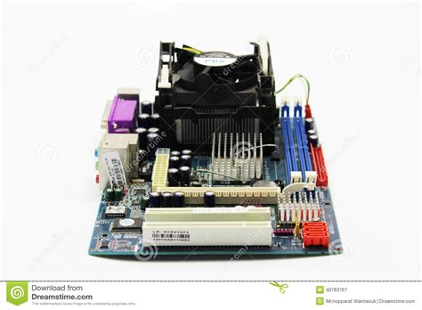 integrated circuits active and passive components mainboard stock photo image 40763767