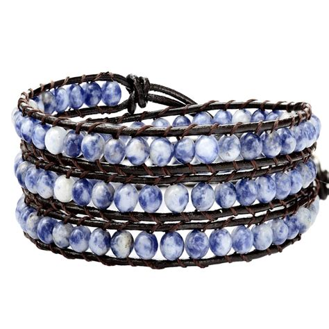 Handmade Wrap Bracelets - handmade blue wrap bracelet on brown leather