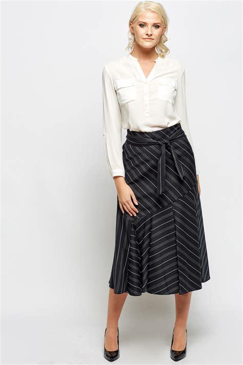 stripe tie up midi skirt black white just 163 5