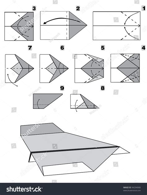 How To Make Paper Jet Step By Step - paper plane tutorial step by step stock vector 94294990