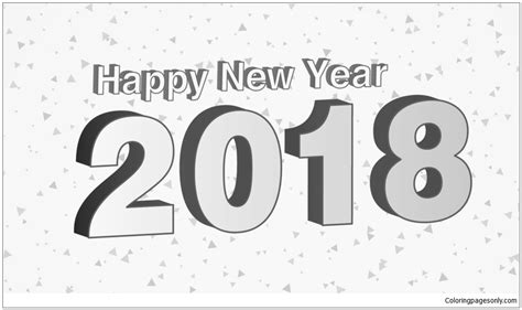 Happy New Year 2018 Coloring Page Free Coloring