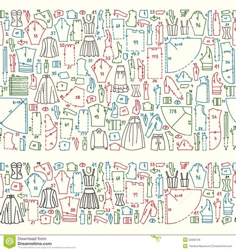 different pattern of clothes seamless hand drawn doodle borders with clothes and sewing