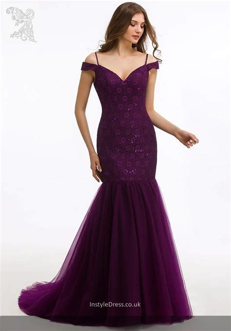 Bathrobe Purple Mermaid graceful the shoulder lace and tulle formal evening prom gowns instyledress co uk