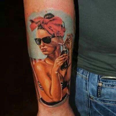 cool looking coca cola tattoo tattoomagz coca cola pinup tattoo ink pinterest