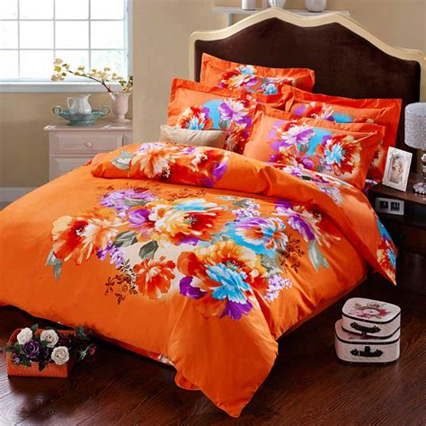 Size Of Queen Size Comforter Orange Floral Print Bed Sets Ebeddingsets