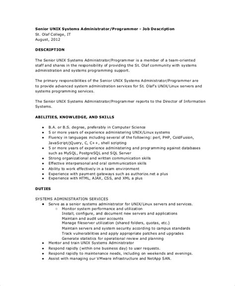 Linux System Administrator Description by System Administrator Description It Posting For Week Ending August St Linux System