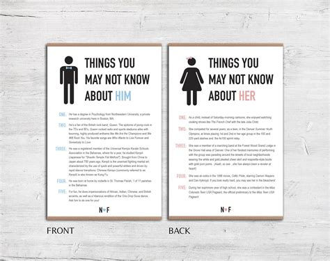 Wedding Facts by Things You May Not About Him Fact Card