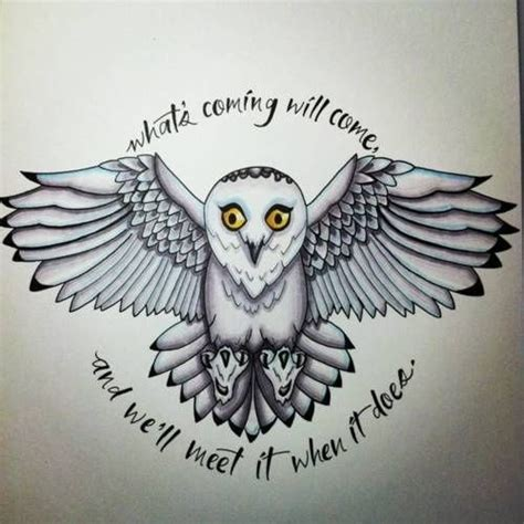 hedwig tattoo harry potter hedwig what s coming will come and