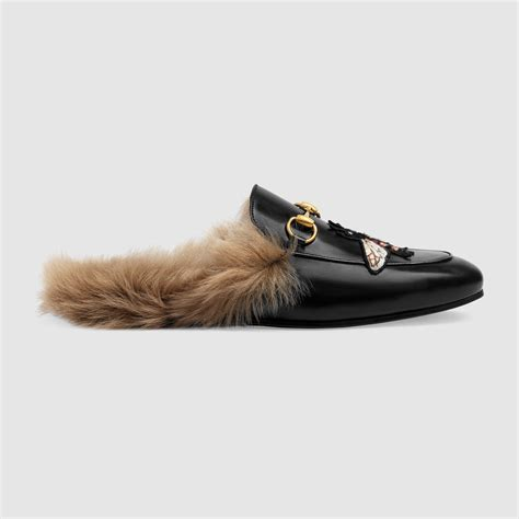 Slip On Gucci Flat Shoes Gucci Wedges Gucci De41 Go Murah gucci princetown embroidered leather slides lyst