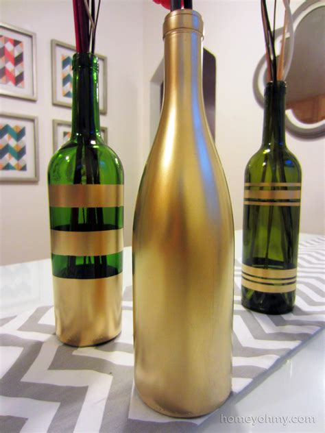 Spray Paint Design Ideas by Diy Spray Painted Wine Bottles For Fall Decorating Homey Oh