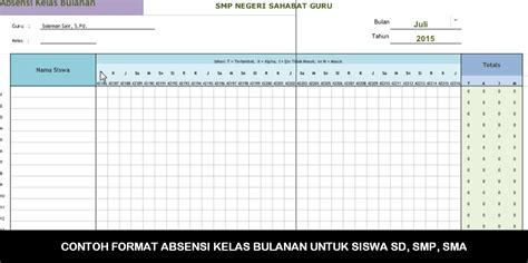 contoh format grafik absensi siswa contoh format absensi kelas bulanan untuk siswa sd smp