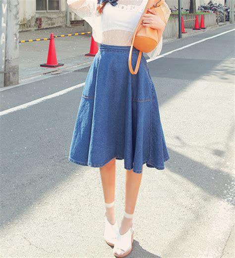 Paneled Denim Flare Mini Skirt flared jean skirt fashion skirts