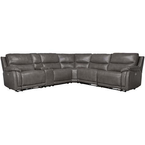 gray leather reclining sectional city furniture vince gray leather small dual power